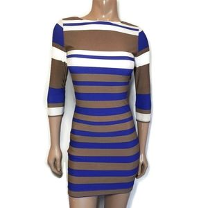 RUBBER DUCKY Striped 3/4 Sleeve Bodycon Dress